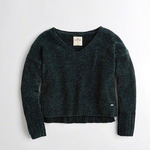 Dark green chenille crop sweater